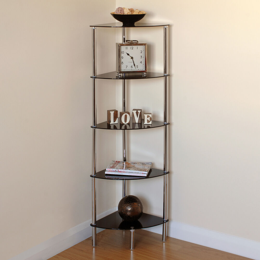 Hartleys 5 tier black glass side corner shelf display unit - Glass corner shelf for living room ...