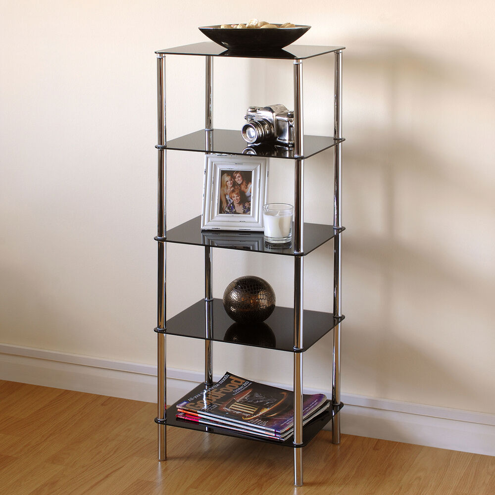 Hartleys Black Glass 5 Tier Side Table Display Shelf Unit