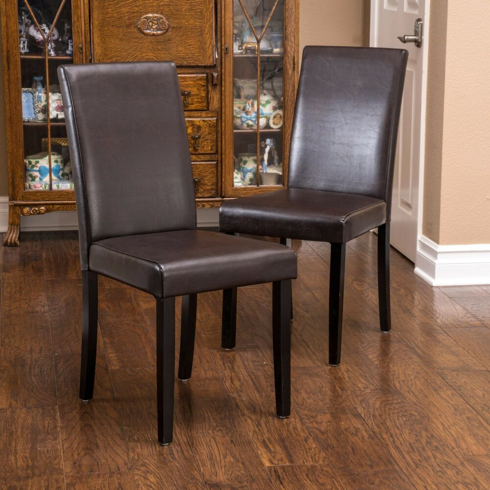 Set of 2 dining room brown leather parson dining chairs for Leather parsons dining chair