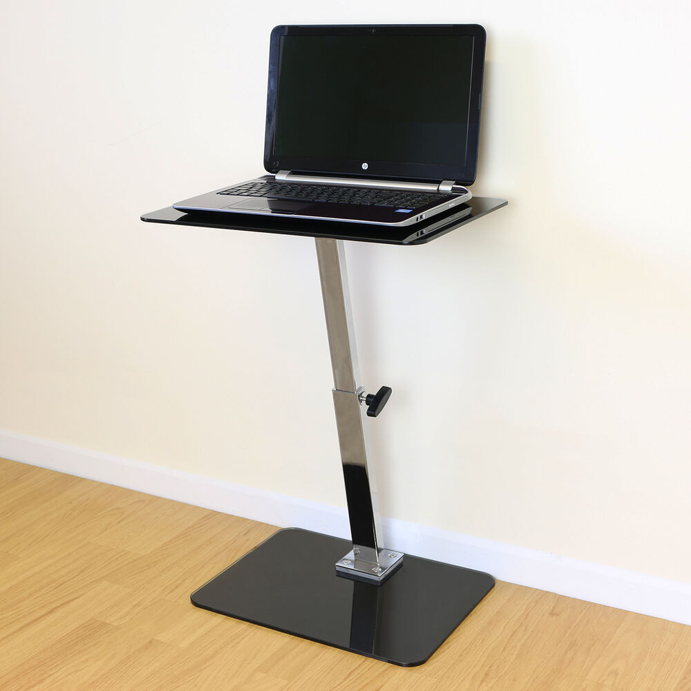 Black Glass Adjustable Laptop Notebook Table Stand Bed Sofa Office Computer Desk Ebay