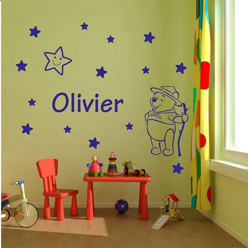 Boys Name Bedroom Wall Art Decal Wal Stickers Winnie The Pooh Ebay