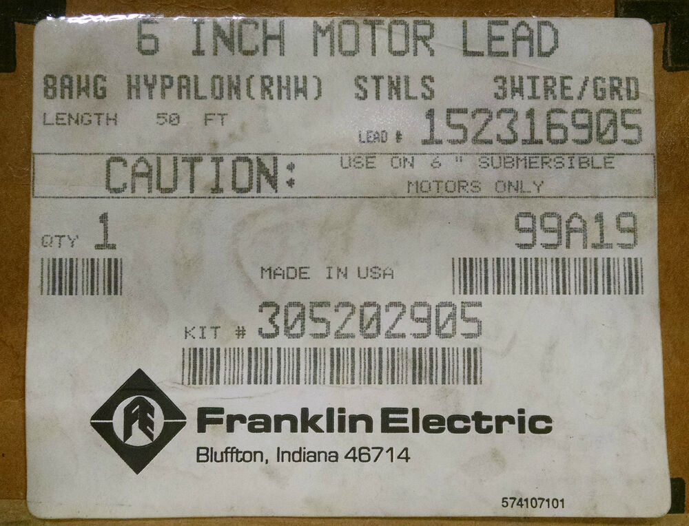 Franklin Electric 6 Quot Motor Leads 50ft 3 Wire Submersible