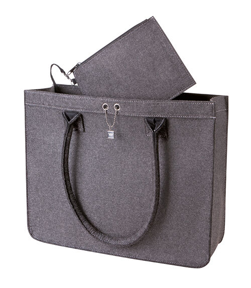 halfar tolle filz tasche modernclassic city shopper inkl kleine tasche grau ebay. Black Bedroom Furniture Sets. Home Design Ideas