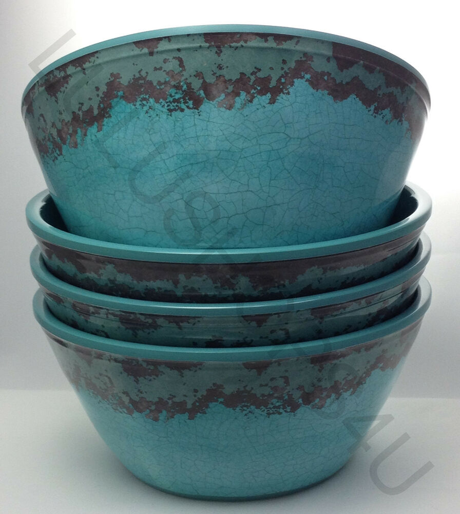 Lot Of 4 Teal Turquoise Brown Crackle Heavy Melamine Bowls