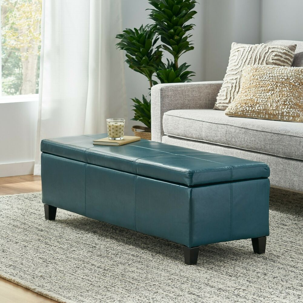Contemporary Teal Leather Storage Ottoman Bench Ebay