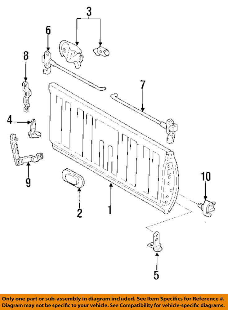 93 t100 transmission diagram toyota oem 93-98 t100 tail gate tailgate hatch-gate ...