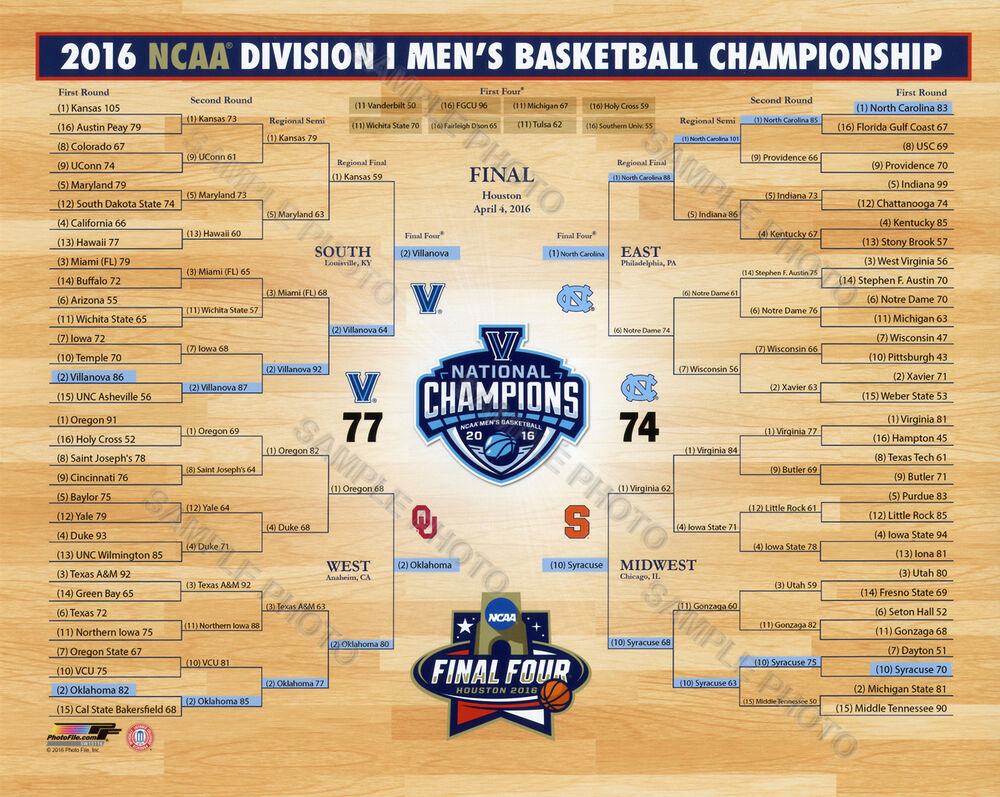 2016 villanova wildcats national chionship bracket 8x10