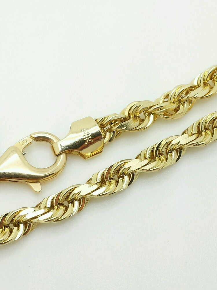 14k solid yellow gold diamond cut twist rope necklace. Black Bedroom Furniture Sets. Home Design Ideas