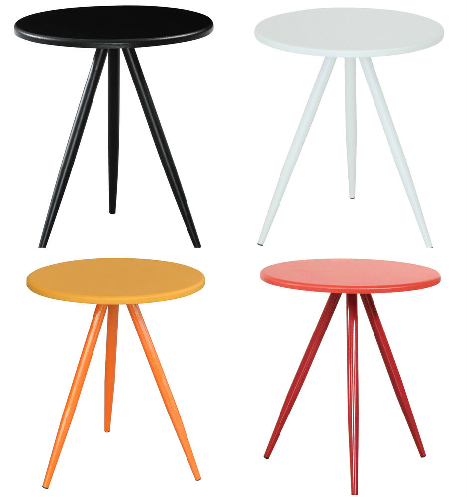Side End Lamp Table Black White Yellow Red Wooden Designer