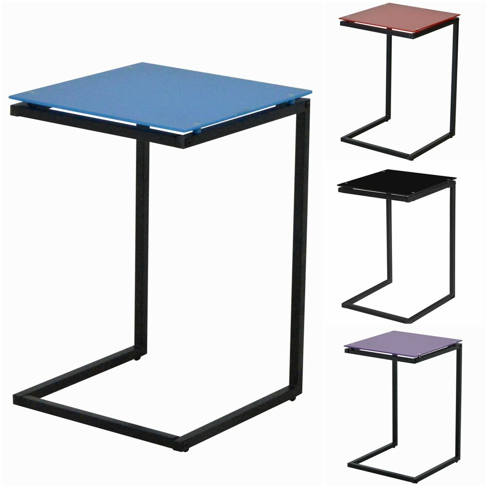 Side End Lamp Table Square Glass Black Red Blue Purple