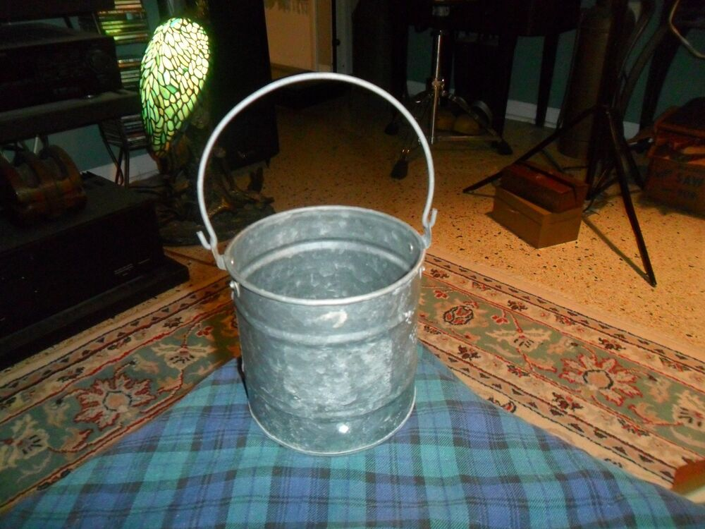 Vintage Galvanized Metal Hanging Planter Bucket Can W