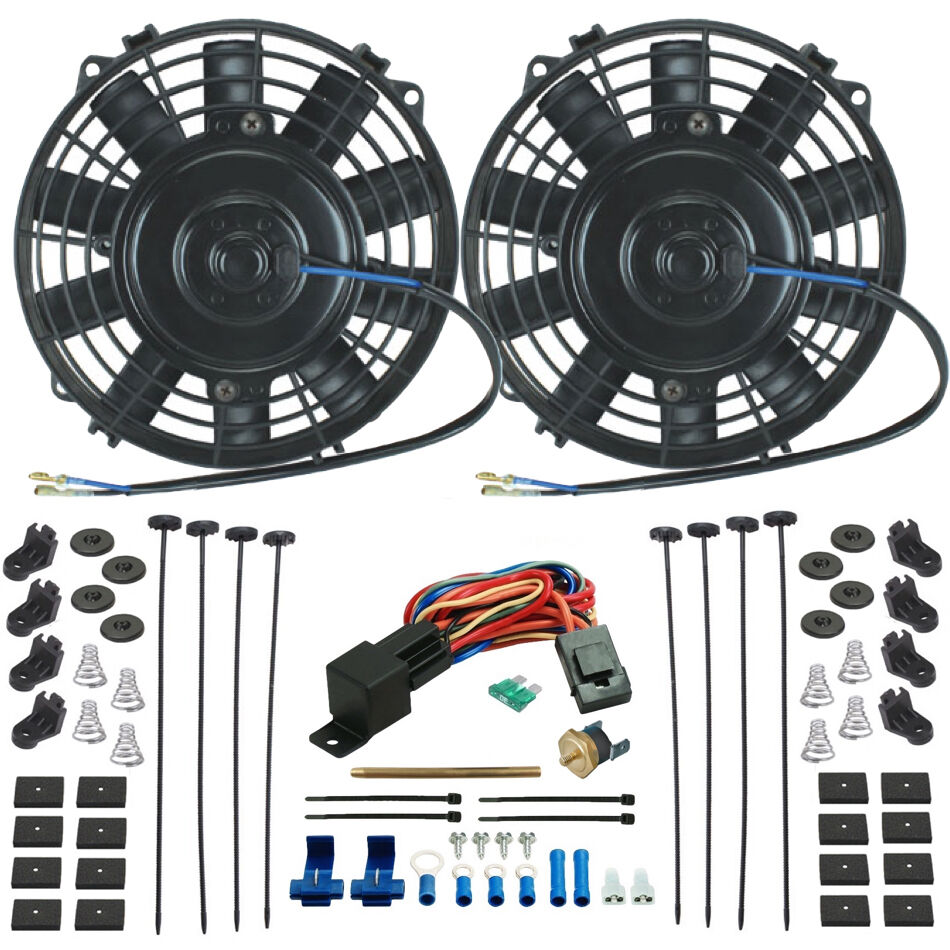 Electric Cooling Fans : Dual quot inch electric radiator cooling fans push in probe