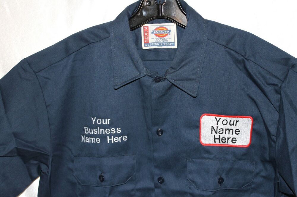 Dickies mens custom patch embroidered work uniform long for Embroidered work shirts online