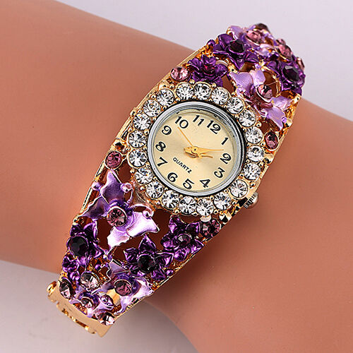 women 39 s flower butterfly dress bangle numbers dial rhinestone cheap new watches ebay. Black Bedroom Furniture Sets. Home Design Ideas