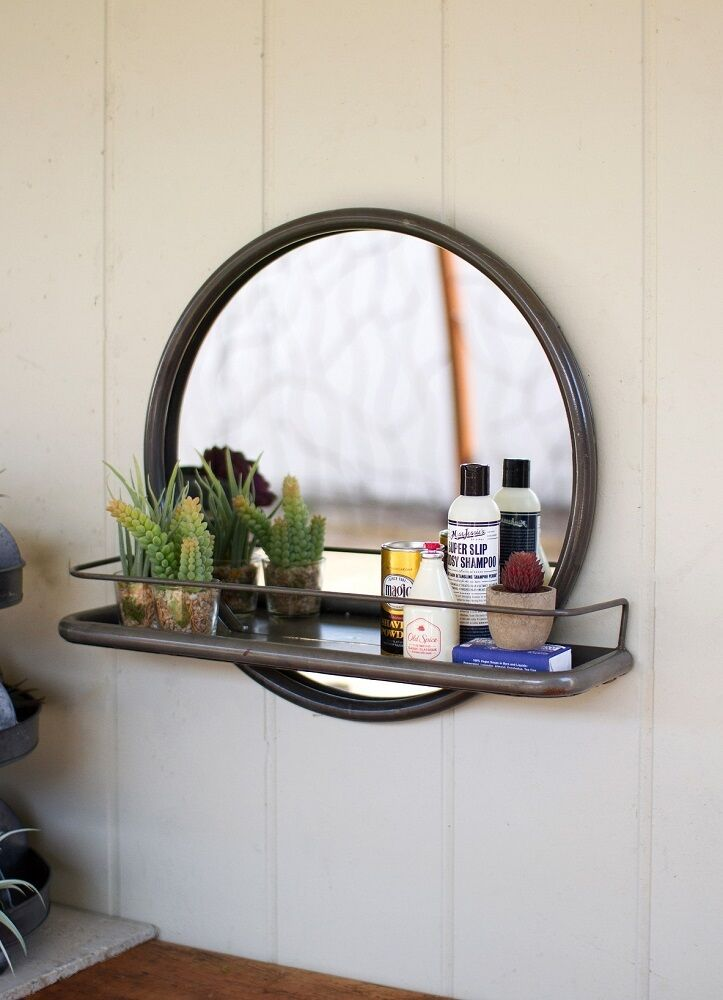 round bathroom mirror with shelf vintage industrial loft warehouse style metal frame 24070