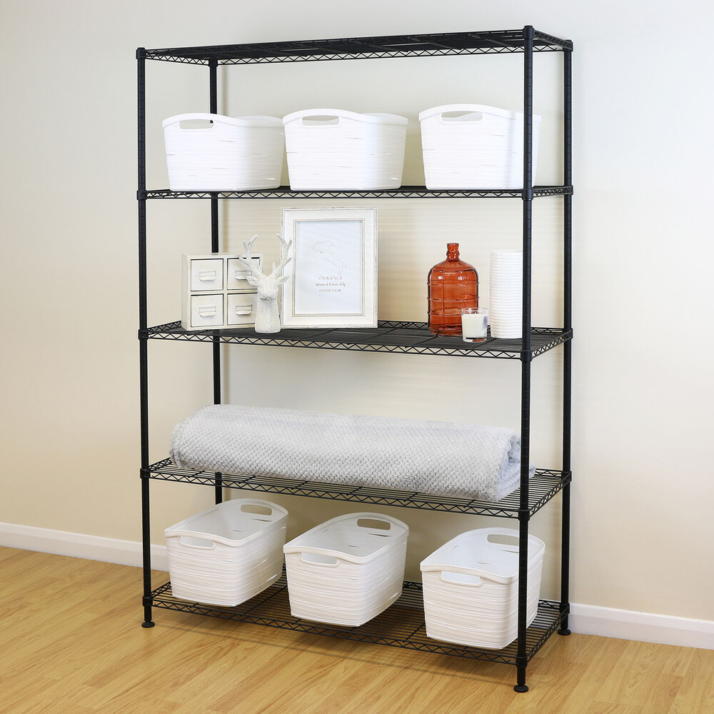 Kitchen Shelf Metal: 5 Tier Black Metal Storage Rack/Shelving Wire Shelf