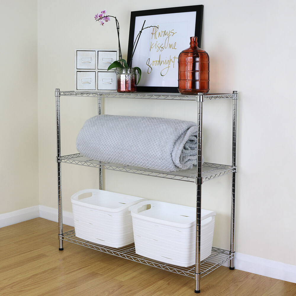 Kitchen Shelf Metal: 3 Tier Chrome Metal Storage Rack/Shelving Wire Shelf