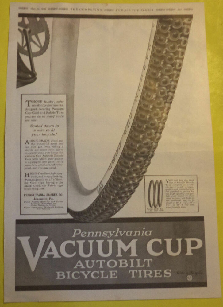 Pennsylvania Vacuum Cup Bike Tires Ad 1920 Ivory Soap Flakes Page Great Pic Ebay