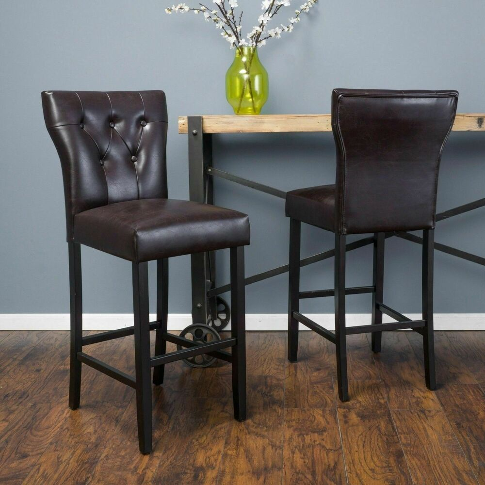 Set Of 2 Contemporary Brown Leather Barstool Ebay