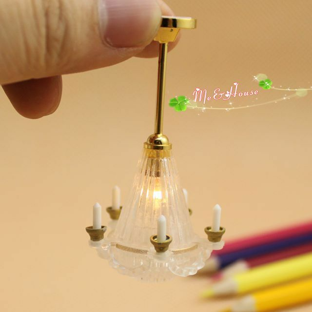 1/12 Dollhouse Candle MMA Ceiling Lamp 12 Volt Working