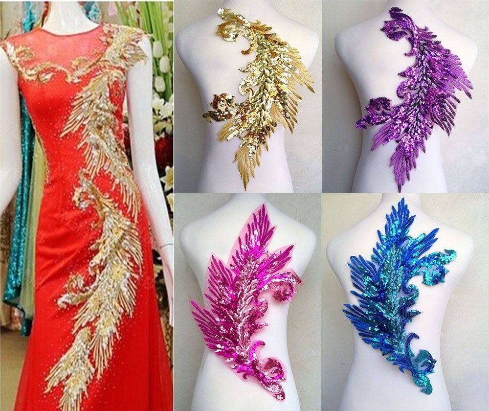 Pcs embroidered sequins feather sewing applique diy trim