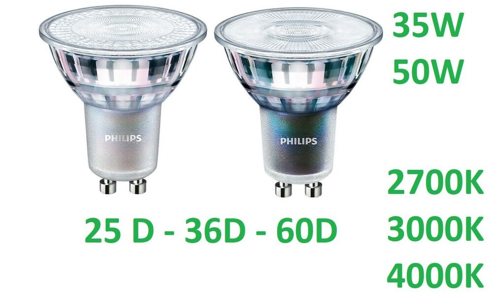 philips master led spot gu10 led strahler 3 7w 4 9w leuchtmittel dimmbar lampe ebay. Black Bedroom Furniture Sets. Home Design Ideas