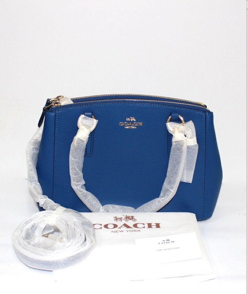Michael kors bags ebay philippines - Coach Mini Christie Bright Mineral Crossgrain Leather Blue Bag Cod Paypal Ebay