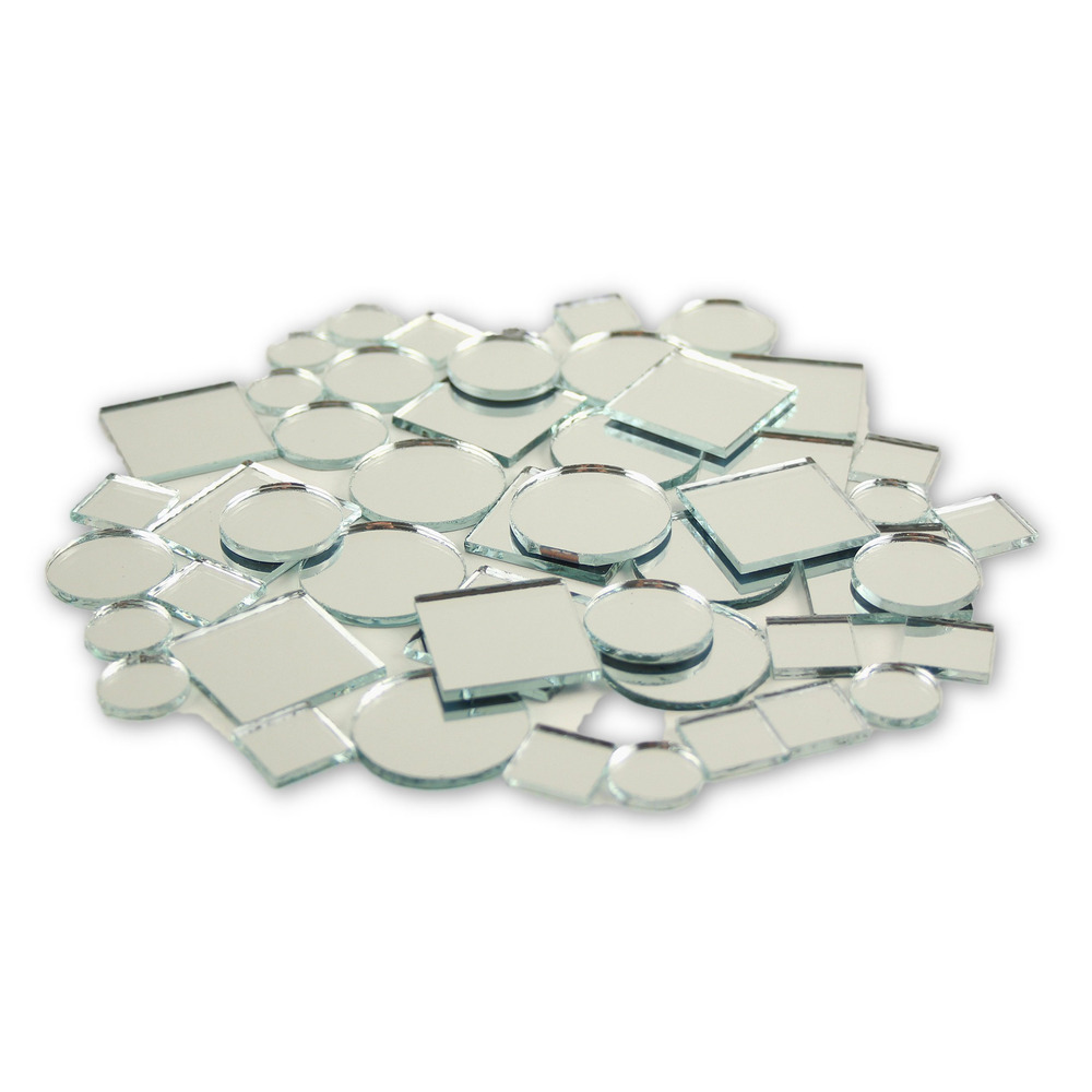 Glass craft mini square round mirrors mosaic tiles 1 2 1 for Small round craft mirrors
