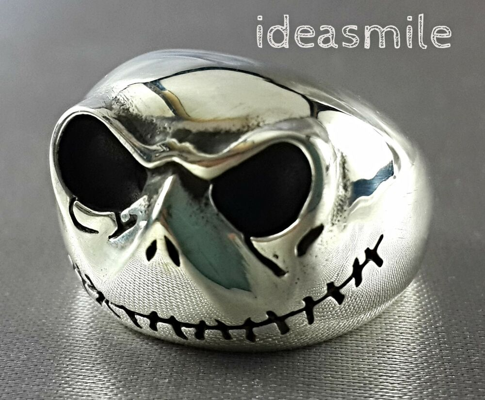 TIM BURTON NIGHTMARE BEFORE CHRISTMAS HALLOWEEN SKULL 925 SILVER ...