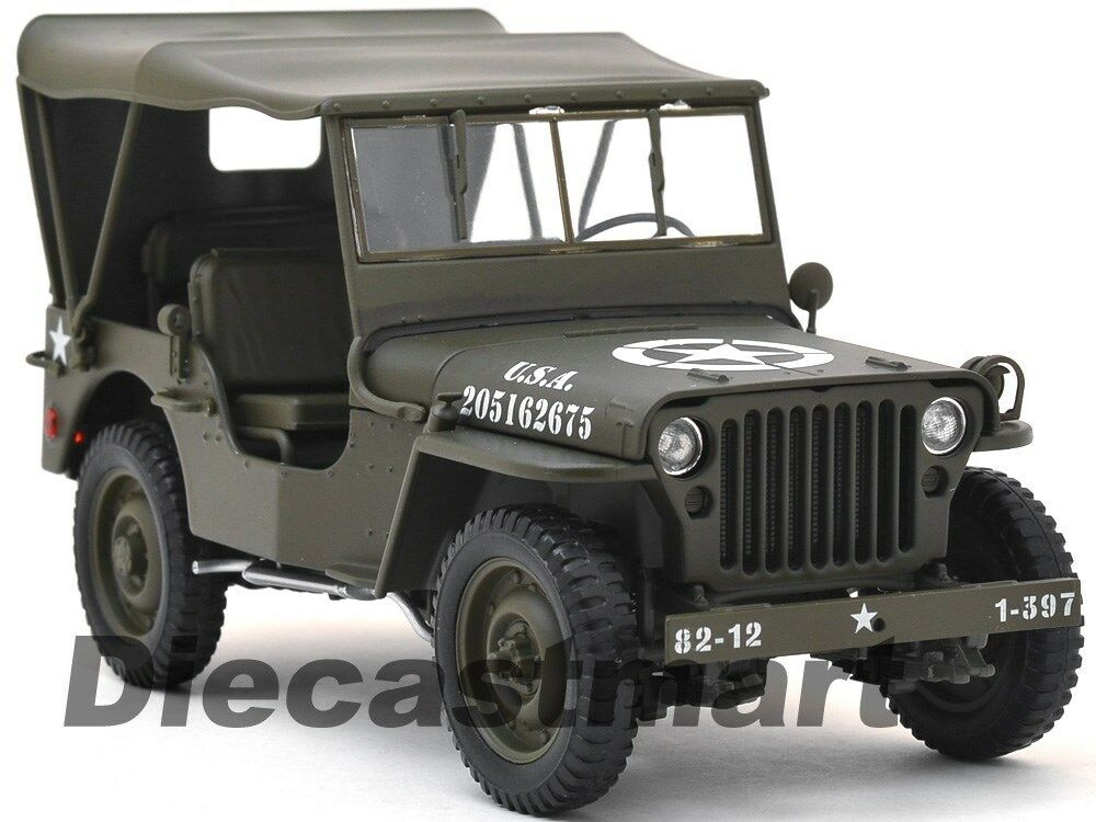 welly 18036w h willys 1 4 ton us army jeep wwii with top up 1 18 diecast green ebay. Black Bedroom Furniture Sets. Home Design Ideas
