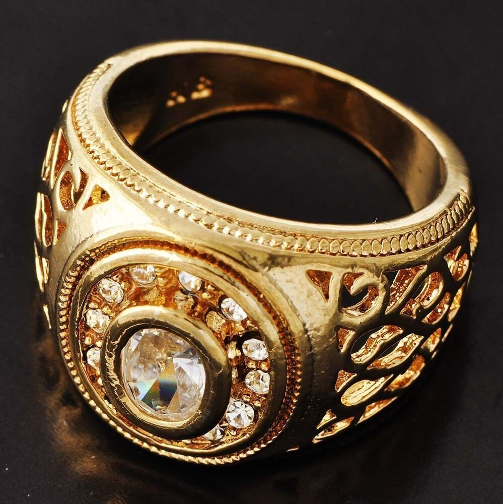 Wedding Impressive Men S Yellow Gold Filled Clear Cz Ring
