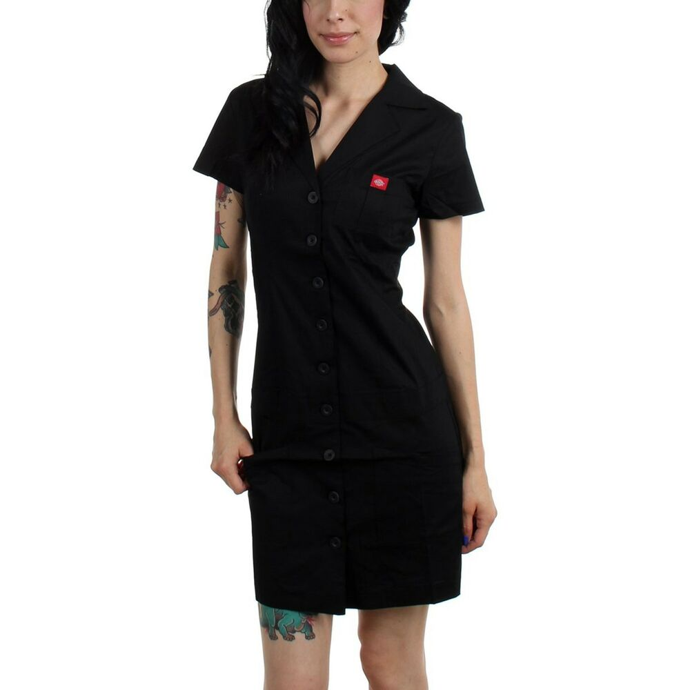 Dickies Girl Betty Dress Diner Black Button Down Front