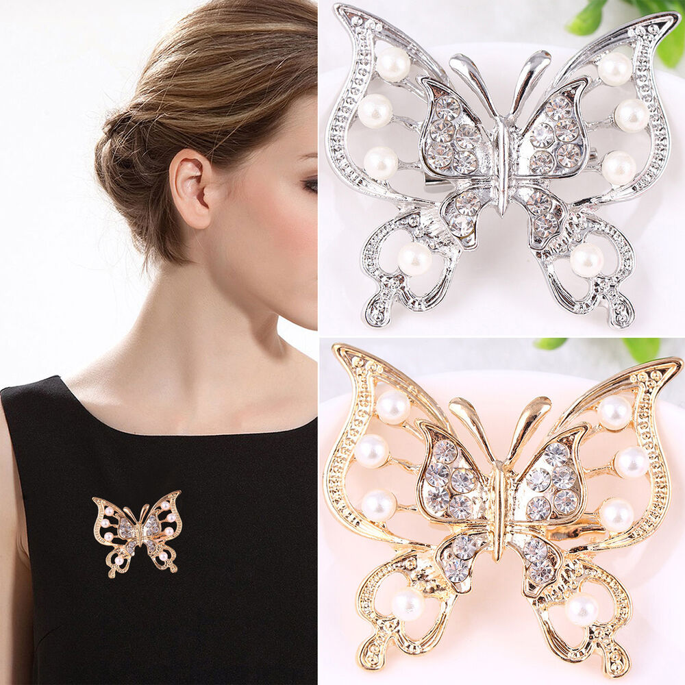 Elegant Bridal Set Heavy Gold Plated Diamante Crystal: UP Large Silver/Gold Plated Butterfly Rhinestone Crystal