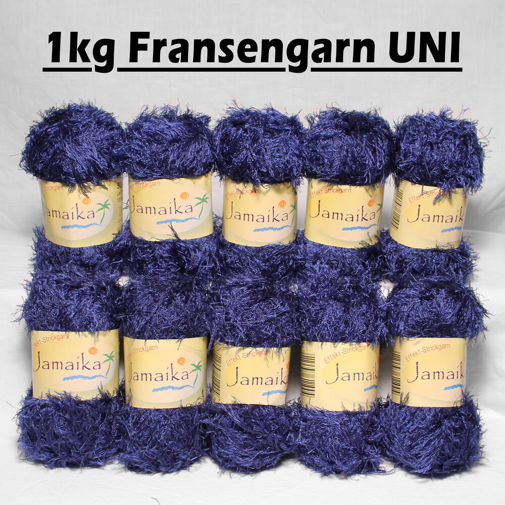 1kg fransenwolle blau uni fransengarn effektgarn wolle zum stricken brazilia ebay. Black Bedroom Furniture Sets. Home Design Ideas