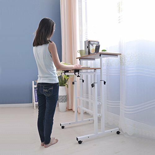 Sdadi Adjustable Height Mobile Stand Up Desk Computer