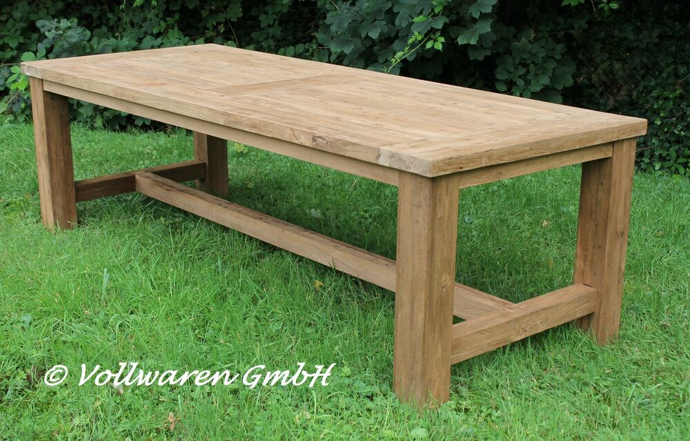 teak gartentisch tyrion 220x100 teakholz antik massiv tisch tafel gartenm bel ebay. Black Bedroom Furniture Sets. Home Design Ideas
