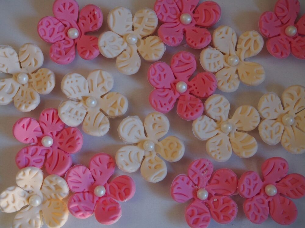 20 X Embossed Flower Blossoms EDIBLE CUPCAKE TOPPERS Birthday Cake