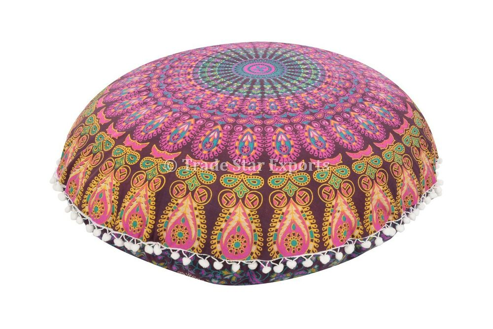 indian mandala floor pillow with insert bohemian round cushion covers 32 poufs ebay. Black Bedroom Furniture Sets. Home Design Ideas