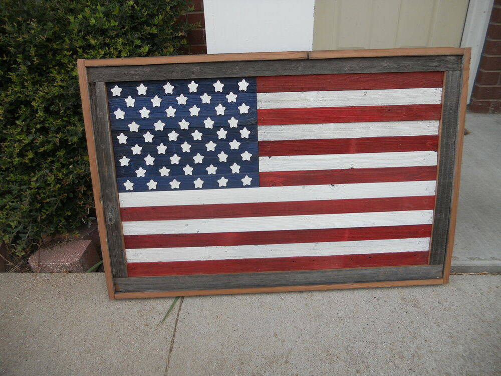 Large Rustic Wood American Flag Wall Hanging Art