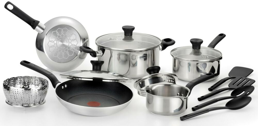 t fal excite 14 piece cookware set stainless steel new ebay. Black Bedroom Furniture Sets. Home Design Ideas