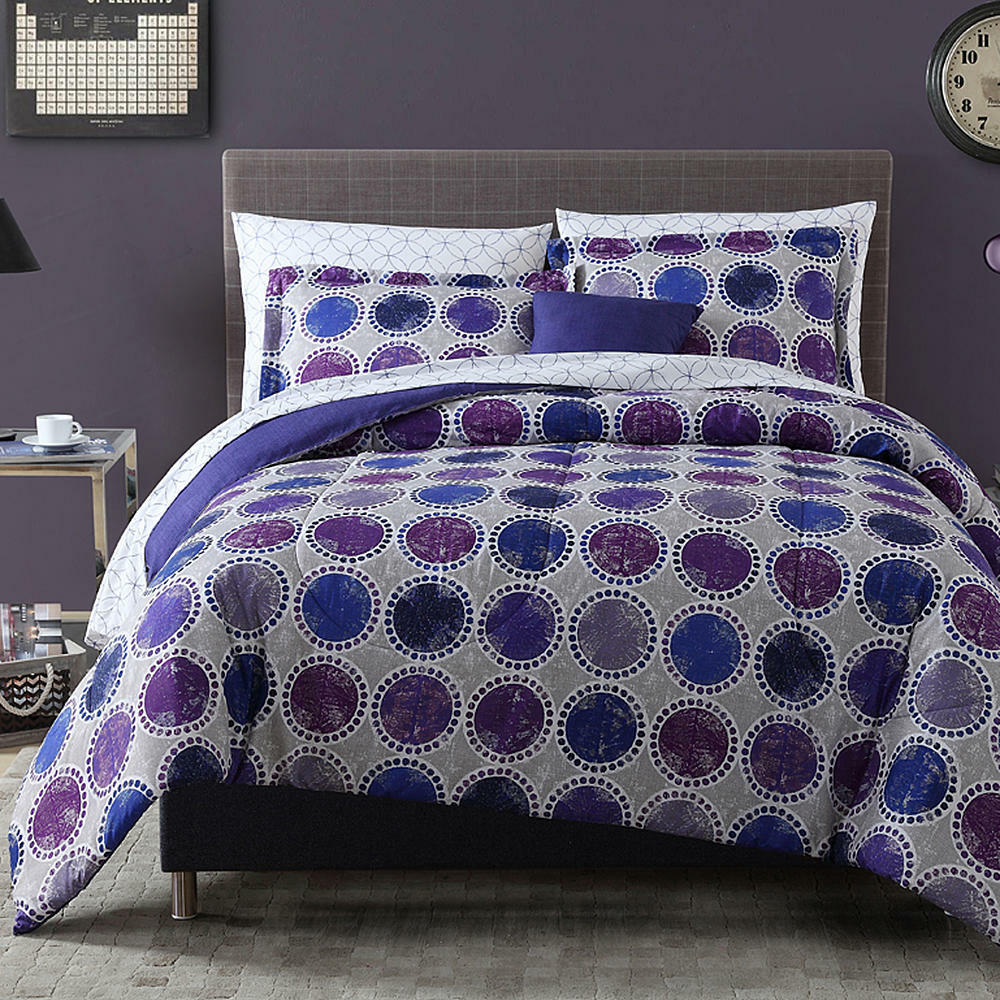 8pc complete comforter bedding set circles dots blue - Complete bedroom sets with mattress ...