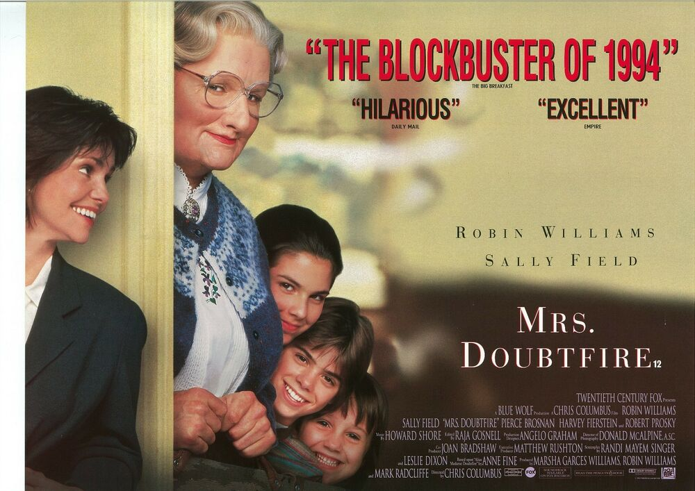 MRS DOUBTFIRE movie poster ROBIN WILLIAMS poster, SALLY ...