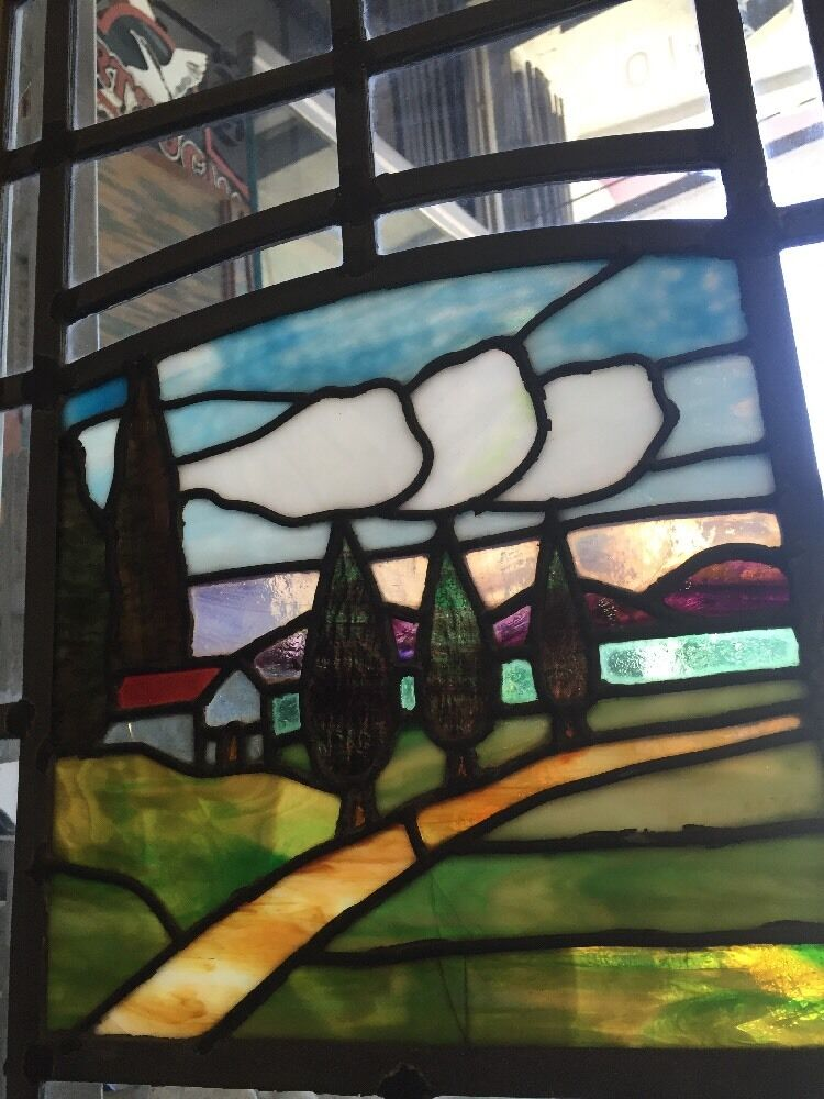 Stained glass arts and crafts craftsman style leaded for Arts and crafts glass