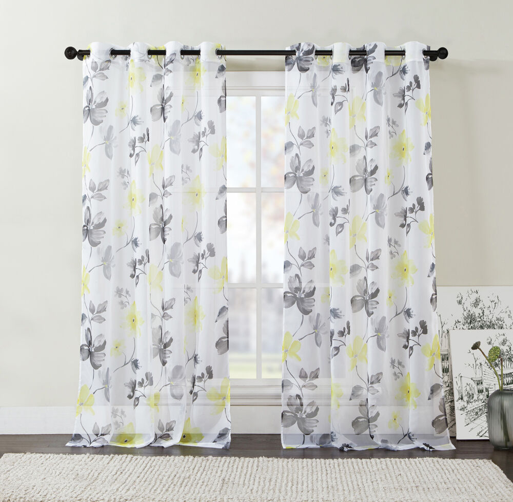 Extra Long Two 2 Piece Sheer Grommet Window Curtain Panels Yellow Black Gray Ebay