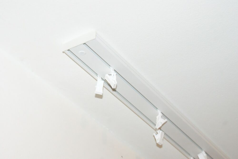 Double Curtain Rail Track Ceiling Pvc Clips Or Hooks