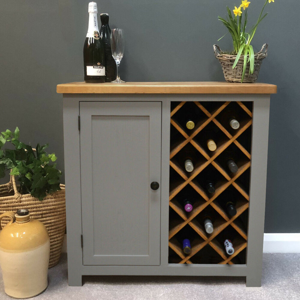 Apartment Bar Cabinet : Swainswick Stone Grey Painted Oak Wine Rack with  Storage / Drinks Cabinet