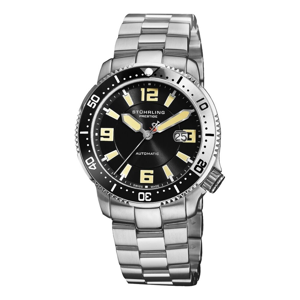 Stuhrling prestige regatta cruiser men s swiss made automatic diver watch new ebay for Watches on ebay