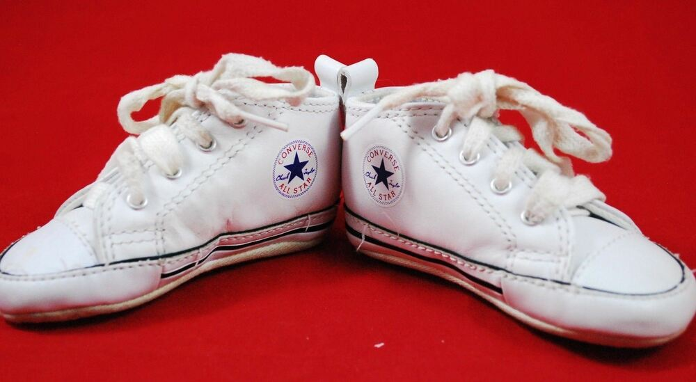 bfe9a6c98e2b46 Details about Infant Baby CONVERSE Crib Shoes SIZE 3 White Vintage Style -  Boy Girl - Lace Up