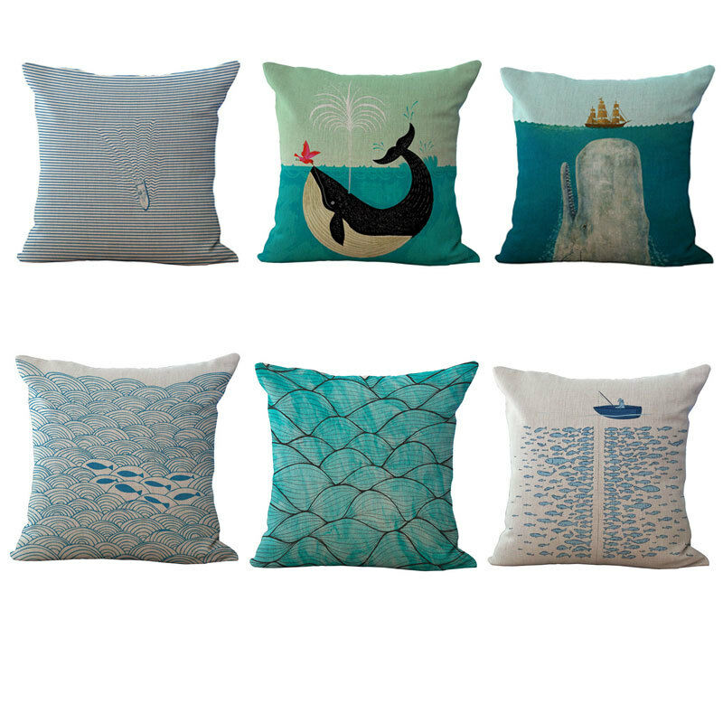 Vintage Blue Ocean Decorative Cotton Throw Pillow Cases Cushion Covers 18X18 eBay