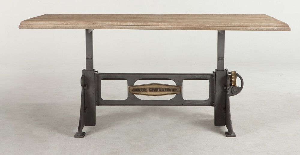 72 Quot L Crank Dining Table Solid Mango Wood Top Iron Brass